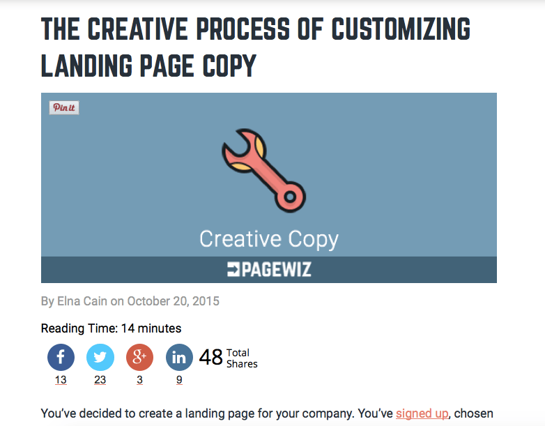 Making Creative Connections: Writing Customizable Landing Page Copy