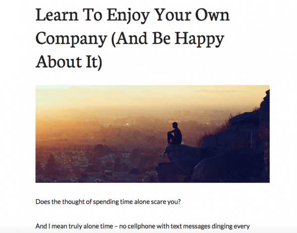 Learn to Enjoy Your Own Company (And Be Happy About It)
